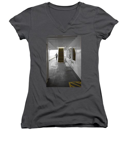 Women's V-Neck T-Shirt (Junior Cut) featuring the photograph Walk This Way by Marilyn Wilson