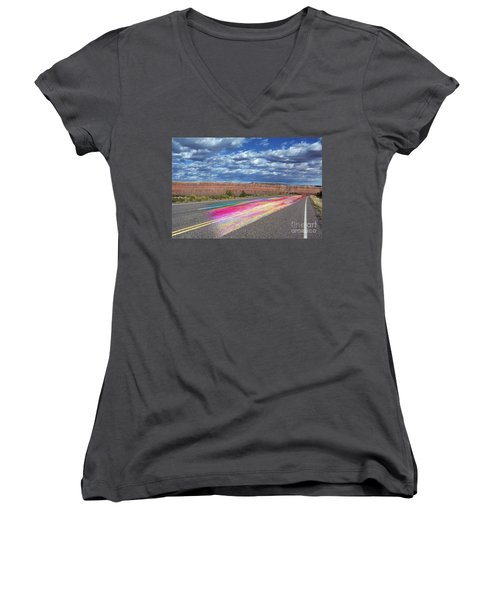 Walking With God Women's V-Neck T-Shirt (Junior Cut) by Margie Chapman