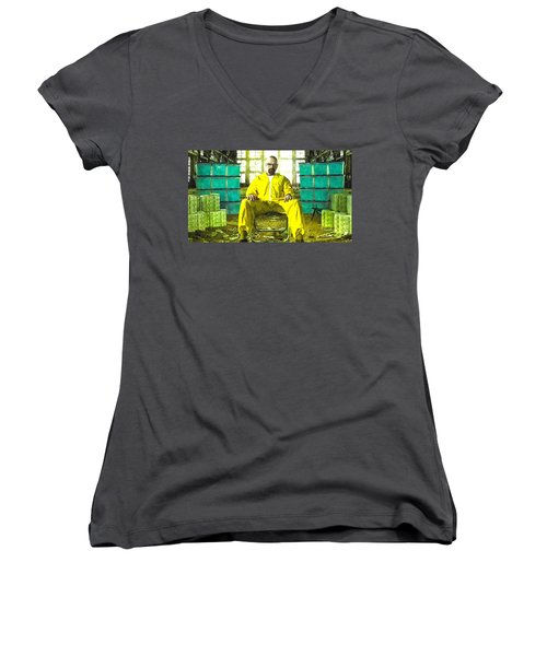 Walter White As Heisenberg Painting Women's V-Neck T-Shirt (Junior Cut) by Gianfranco Weiss