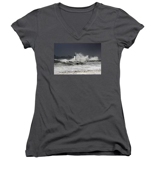 Walton Lighthouse Takes A Beating Women's V-Neck (Athletic Fit)