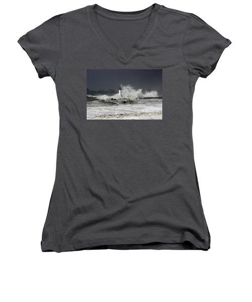 Walton Lighthouse Takes A Beating Women's V-Neck T-Shirt