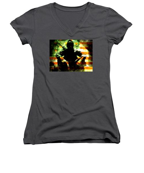 Women's V-Neck T-Shirt (Junior Cut) featuring the painting War Is Hell by Brian Reaves