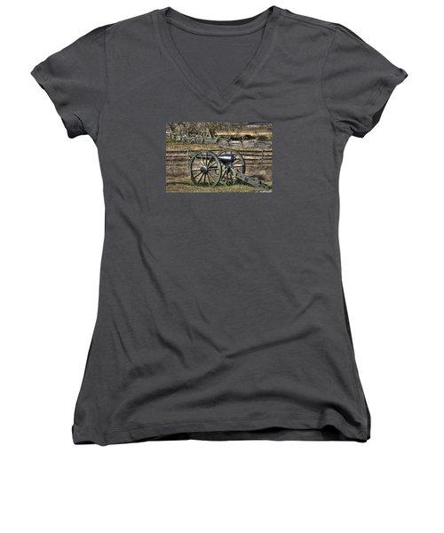 Women's V-Neck T-Shirt (Junior Cut) featuring the photograph War Thunder - 9th Michigan Btry 1st Michigan Light Artillery Battery I Hancock Ave Gettysburg by Michael Mazaika