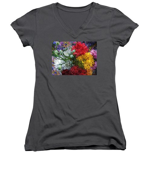 Warning Flowers At Large Women's V-Neck T-Shirt (Junior Cut) by Joseph J Stevens
