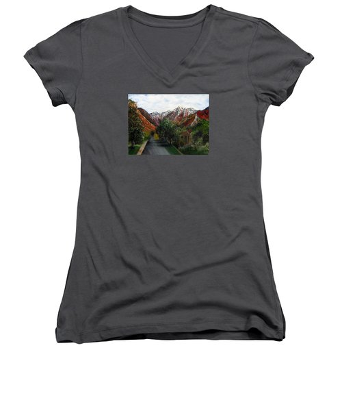 Wasatch Range Looking Up Binford St. Women's V-Neck T-Shirt (Junior Cut) by LaVonne Hand