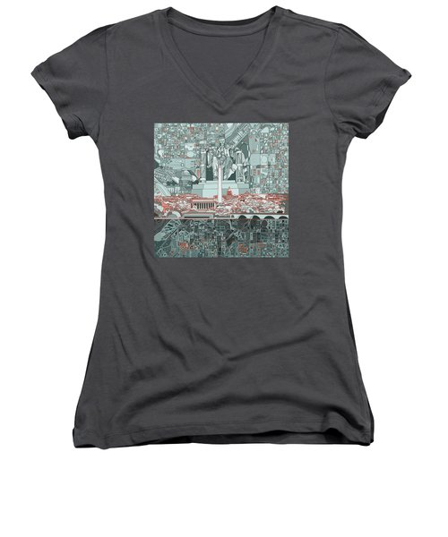 Washington Dc Skyline Abstract Women's V-Neck (Athletic Fit)