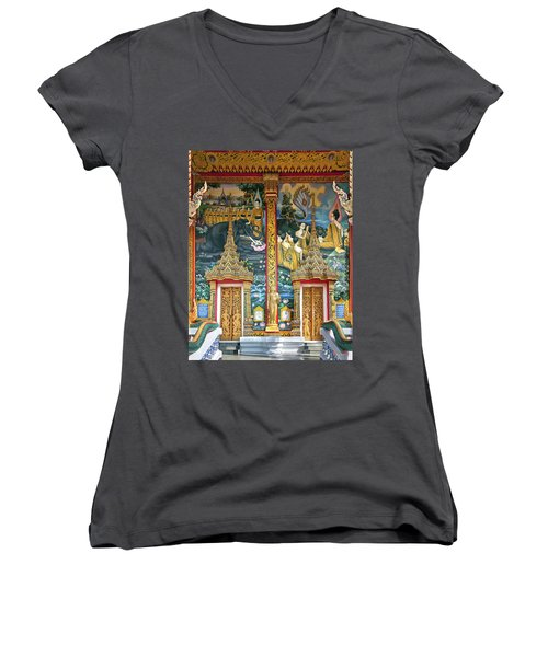 Wat Choeng Thale Ordination Hall Facade Dthp143 Women's V-Neck T-Shirt (Junior Cut) by Gerry Gantt