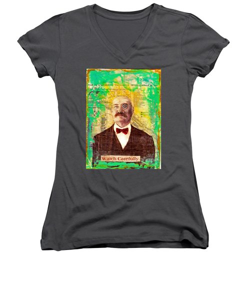 Women's V-Neck T-Shirt (Junior Cut) featuring the painting Watch Carefully by Desiree Paquette