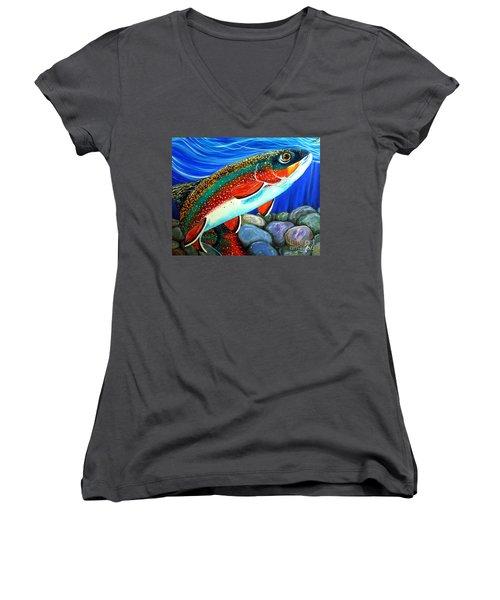 Brook Trout  Women's V-Neck T-Shirt (Junior Cut) by Jackie Carpenter