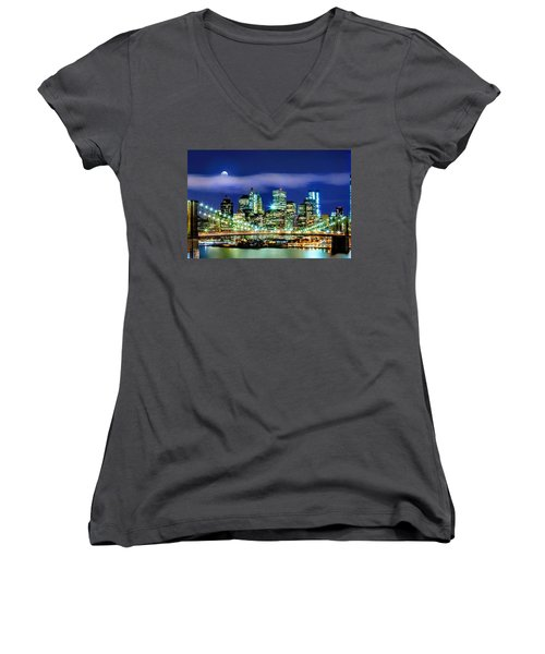 Watching Over New York Women's V-Neck T-Shirt (Junior Cut) by Az Jackson