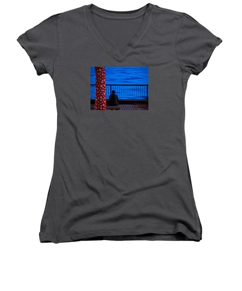 Watching The River Women's V-Neck