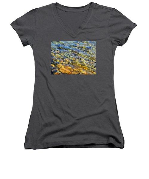 Water Abstract Women's V-Neck T-Shirt (Junior Cut) by Lynda Lehmann