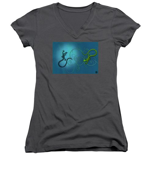 water colour print of twin geckos and swirls Duality Women's V-Neck T-Shirt (Junior Cut) by Sassan Filsoof