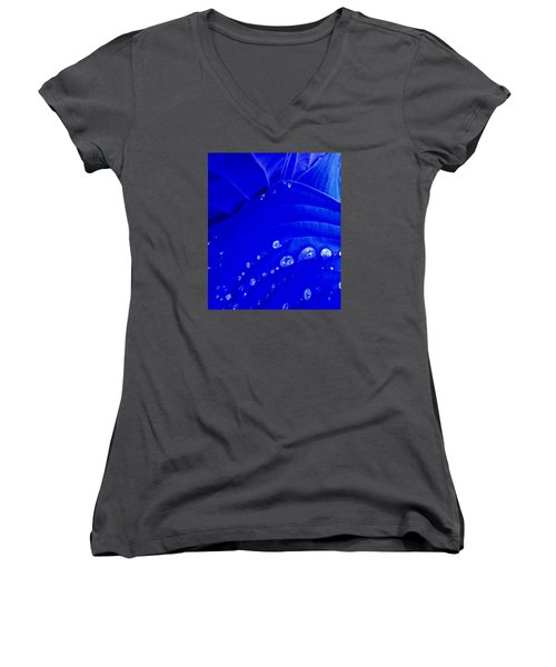 Women's V-Neck T-Shirt (Junior Cut) featuring the photograph Water Droplets  by Carolyn Repka
