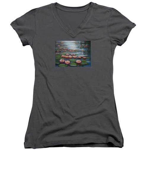 Women's V-Neck T-Shirt (Junior Cut) featuring the painting Water Lilies In Monet Garden by Laila Awad Jamaleldin