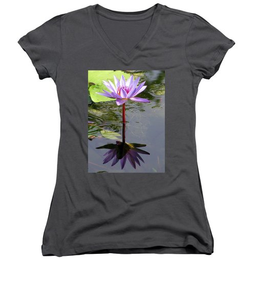 Water Lily - Shaded Women's V-Neck T-Shirt