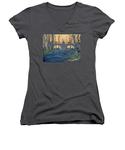 Women's V-Neck T-Shirt (Junior Cut) featuring the painting Water Under The Bridge by Brenda Brown