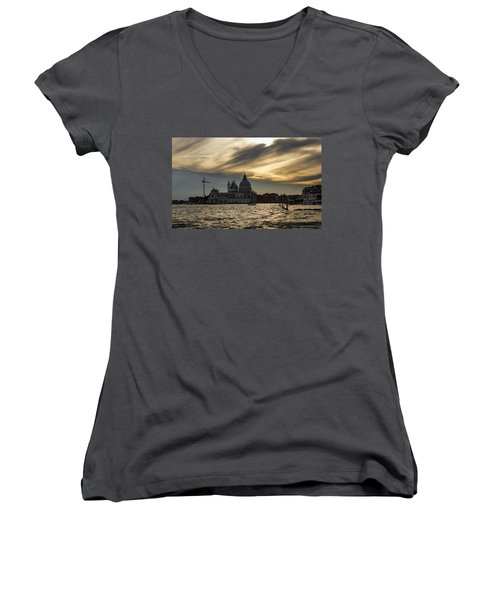 Women's V-Neck T-Shirt (Junior Cut) featuring the photograph Watercolor Sky Over Venice Italy by Georgia Mizuleva