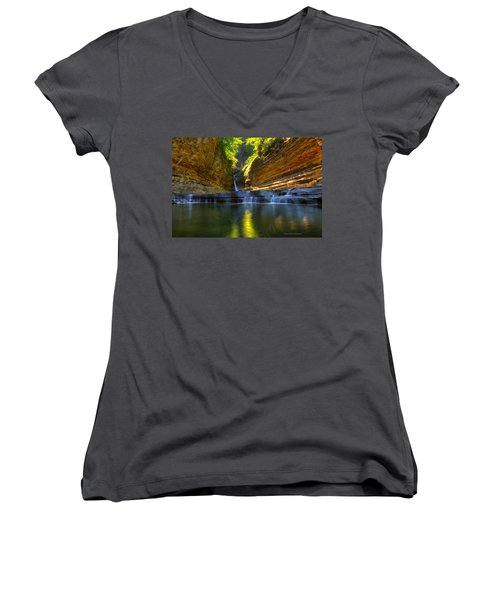 Waterfalls At Watkins Glen State Park Women's V-Neck (Athletic Fit)