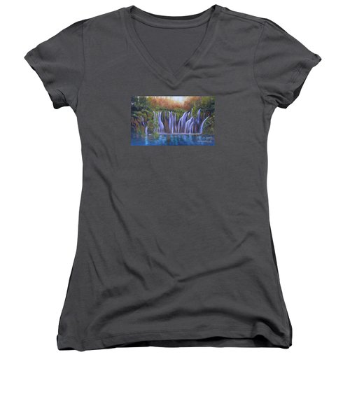 Women's V-Neck T-Shirt (Junior Cut) featuring the painting Waterfalls - Plitvice Lakes by Vesna Martinjak