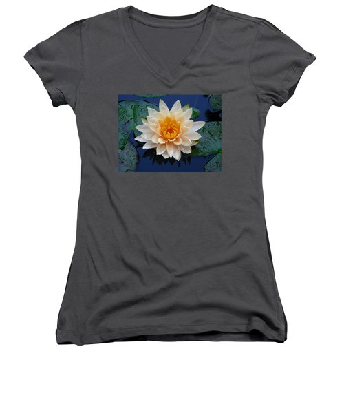 Women's V-Neck T-Shirt (Junior Cut) featuring the photograph Waterlily After A Shower by Raymond Salani III