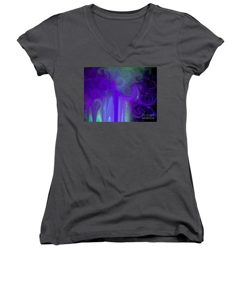 Waves Of Violet - Abstract Women's V-Neck T-Shirt (Junior Cut) by Susan Carella