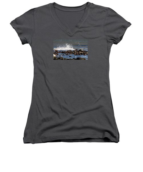 Waves Wind And Whitecaps Women's V-Neck T-Shirt (Junior Cut) by John Telfer