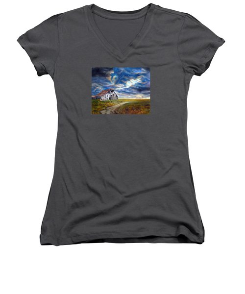 Women's V-Neck T-Shirt (Junior Cut) featuring the painting Weathered Barn by LaVonne Hand