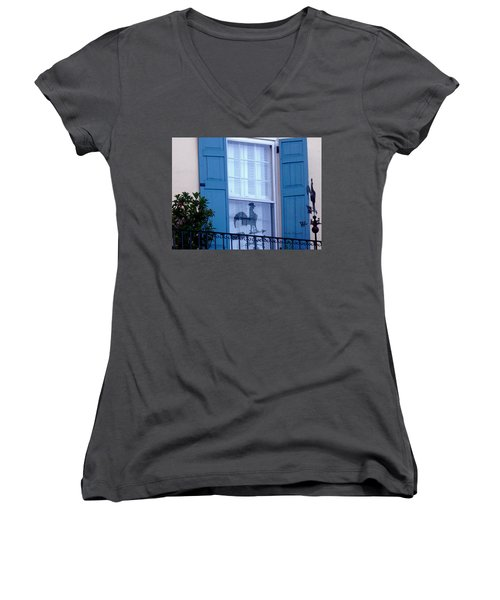 Women's V-Neck T-Shirt (Junior Cut) featuring the photograph Charleston Weathervane Reflection by Kathy Barney