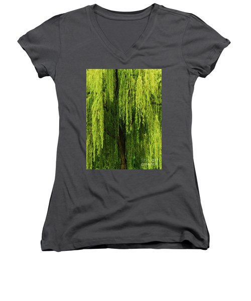 Weeping Willow Tree Enchantment  Women's V-Neck T-Shirt (Junior Cut) by Carol F Austin