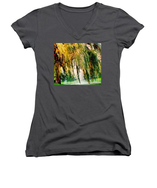 Weeping Willow Tree Painterly Monet Impressionist Dreams Women's V-Neck (Athletic Fit)