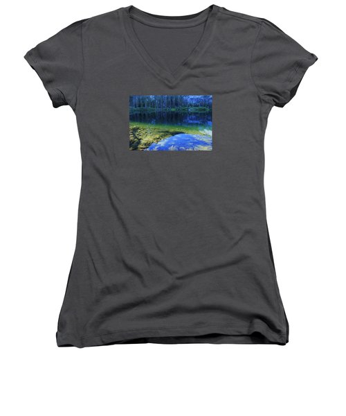 Women's V-Neck T-Shirt (Junior Cut) featuring the photograph Welcome To Eagle Lake by Sean Sarsfield