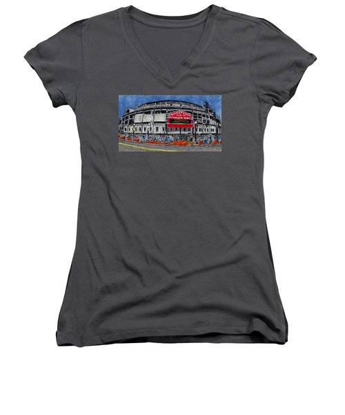 Welcome To Wrigley Field Women's V-Neck T-Shirt (Junior Cut) by Phil Strang