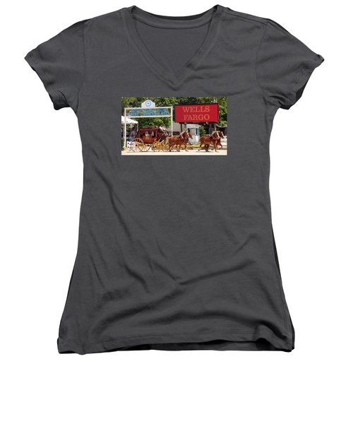 Women's V-Neck T-Shirt (Junior Cut) featuring the photograph Wells Fargo At Devon by Alice Gipson