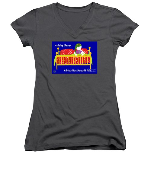 Women's V-Neck T-Shirt (Junior Cut) featuring the digital art Welsh Snowman Bedtime  by Barbara Moignard