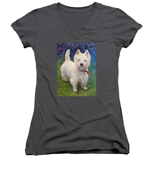 Women's V-Neck T-Shirt (Junior Cut) featuring the painting West Highland Terrier Holly by Richard James Digance