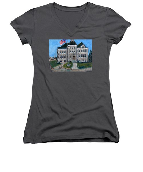 Women's V-Neck T-Shirt (Junior Cut) featuring the painting West Hill School In Canajoharie New York by Betty Pieper