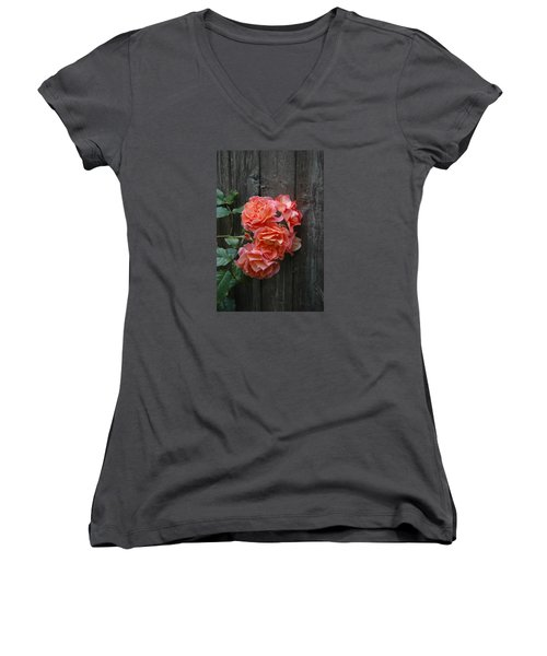 Women's V-Neck T-Shirt (Junior Cut) featuring the photograph Westerland Rose Wood Fence by Tom Wurl