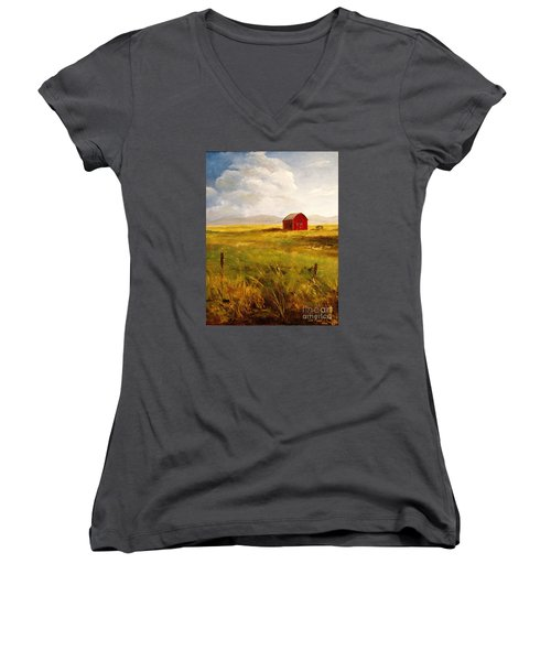 Western Barn Women's V-Neck T-Shirt (Junior Cut) by Lee Piper
