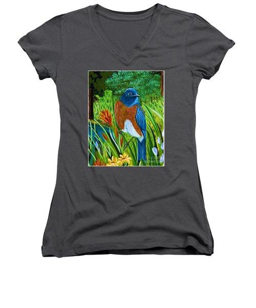 Western Bluebird Women's V-Neck T-Shirt (Junior Cut)