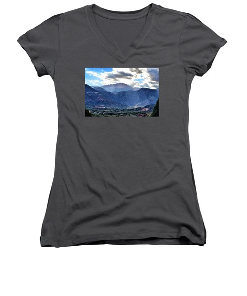 Westside Colorado Springs Women's V-Neck T-Shirt (Junior Cut) by Clarice  Lakota