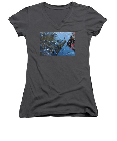 Wet Car Women's V-Neck T-Shirt (Junior Cut) by Randi Grace Nilsberg