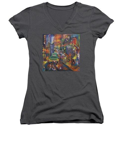 Wet China Lights Women's V-Neck T-Shirt (Junior Cut) by Leela Payne