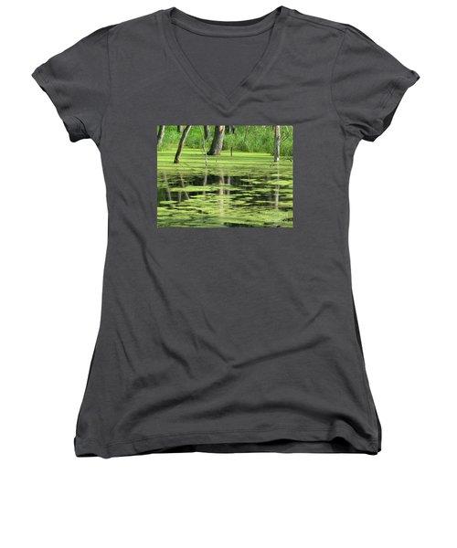 Women's V-Neck T-Shirt (Junior Cut) featuring the photograph Wetland Reflection by Ann Horn