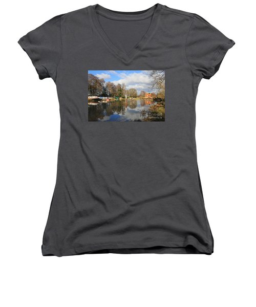 Wey Canal Surrey England Uk Women's V-Neck (Athletic Fit)