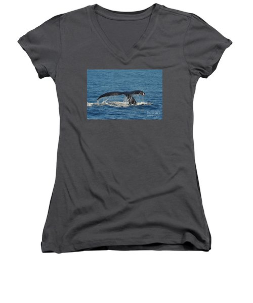 Women's V-Neck T-Shirt (Junior Cut) featuring the photograph Whale Tail by Randi Grace Nilsberg