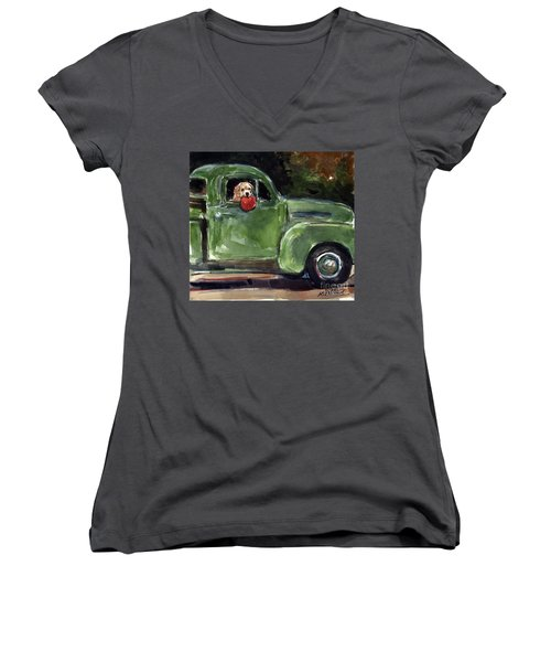 Women's V-Neck T-Shirt (Junior Cut) featuring the painting Wham-o by Molly Poole