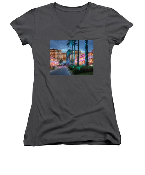 Wharf Blue Lighted Trees Women's V-Neck T-Shirt (Junior Cut) by Michael Thomas
