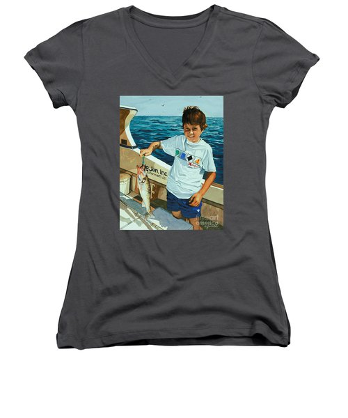 Women's V-Neck T-Shirt (Junior Cut) featuring the painting What A Catch by Barbara Jewell