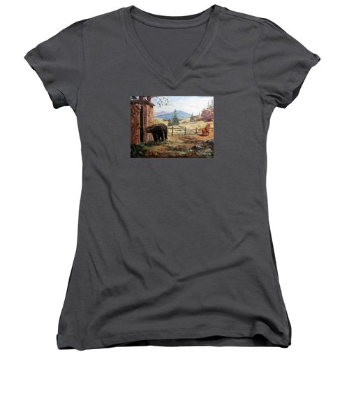 Women's V-Neck T-Shirt (Junior Cut) featuring the painting What Now by Lee Piper